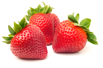 Three fresh ripe red strawberries, isolated on white with soft shadow.