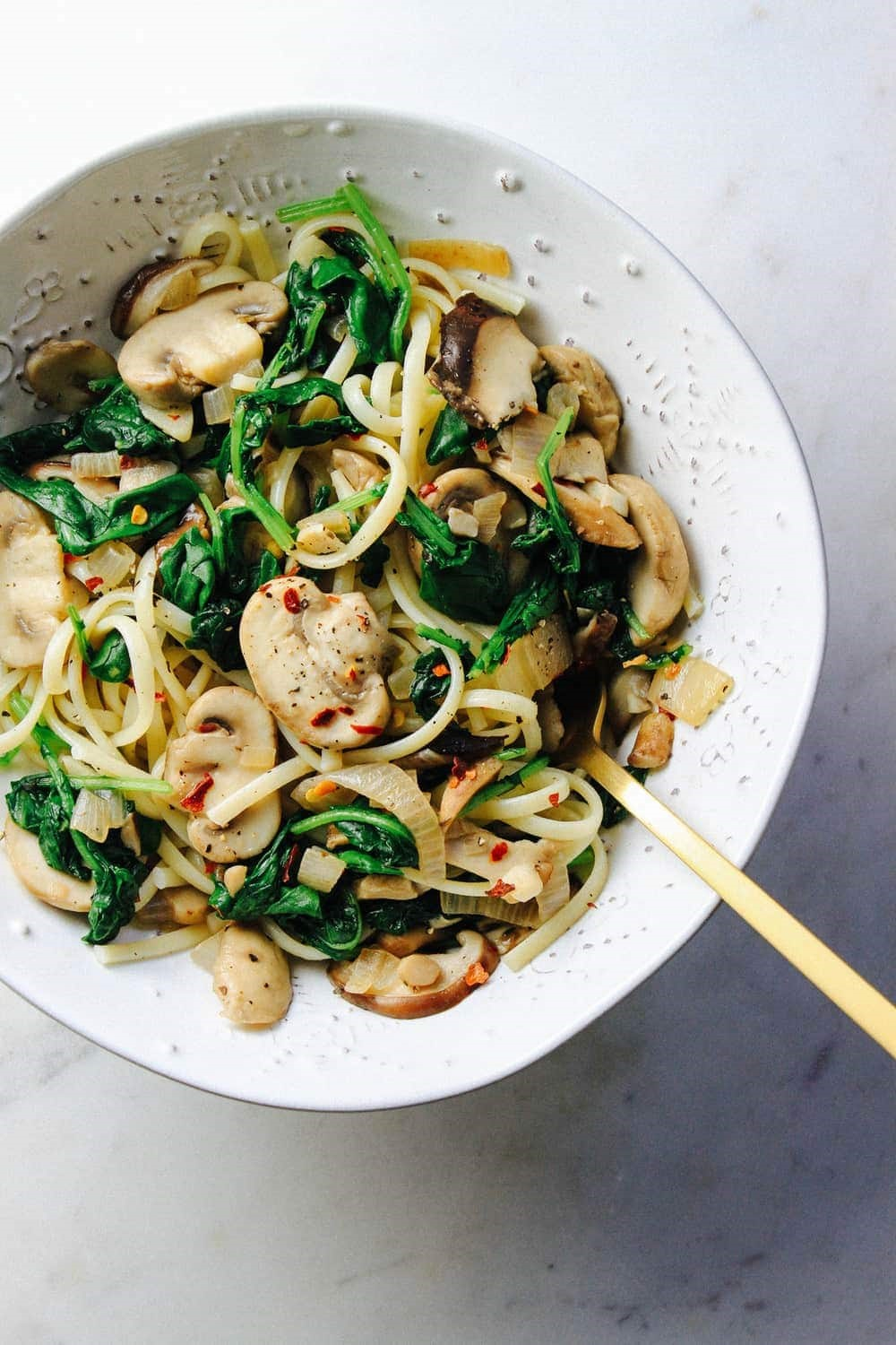 Cambodian greens with oyster mushrooms and konjac noodles